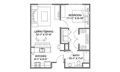 The Avenue A - 1 bedroom floorplan layout with 1 bath and 663 square feet