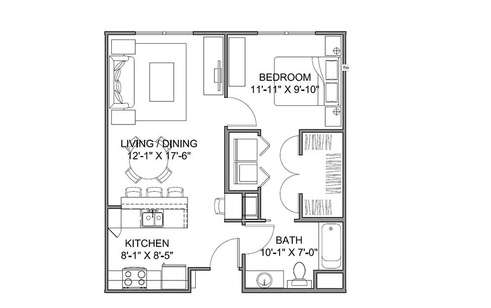 The Avenue A - 1 bedroom floorplan layout with 1 bath and 663 square feet (1st floor 2D)