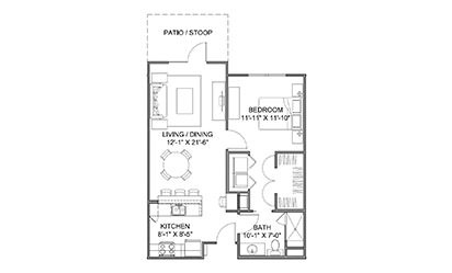 The Avenue B - 1 bedroom floorplan layout with 1 bath and 738 square feet