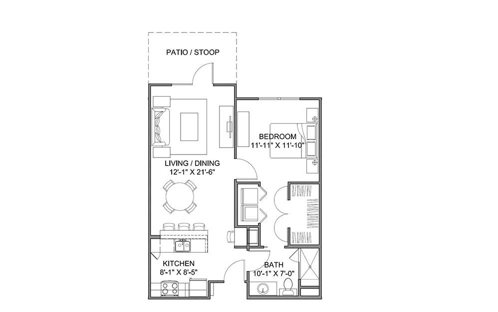 The Avenue B - 1 bedroom floorplan layout with 1 bath and 738 square feet (1st floor 2D)