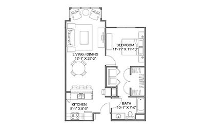 The Avenue C - 1 bedroom floorplan layout with 1 bath and 778 square feet