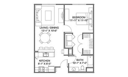 The Avenue D - 1 bedroom floorplan layout with 1 bath and 713 square feet