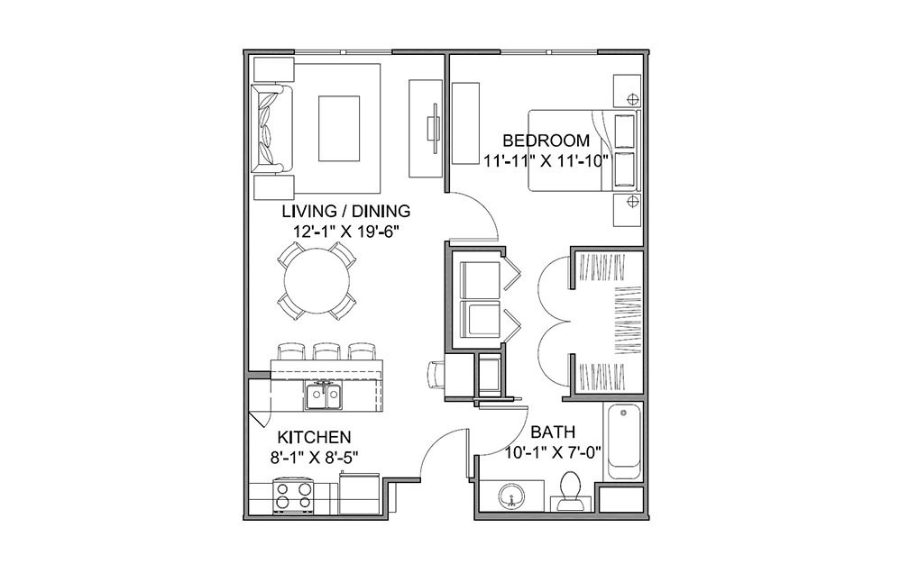 The Avenue D - 1 bedroom floorplan layout with 1 bath and 713 square feet (1st floor 2D)