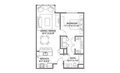 The Avenue E - 1 bedroom floorplan layout with 1 bath and 753 square feet