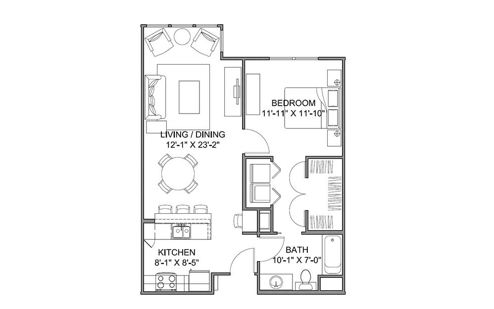 The Avenue E - 1 bedroom floorplan layout with 1 bath and 753 square feet (1st floor 2D)