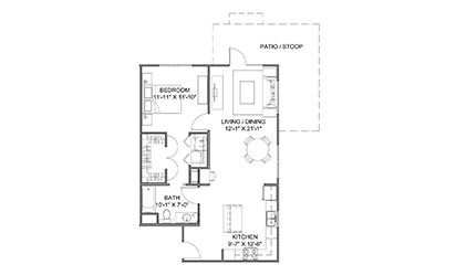 The Boulevard A - 1 bedroom floorplan layout with 1 bath and 837 square feet