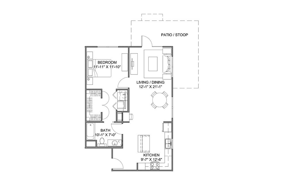 The Boulevard A - 1 bedroom floorplan layout with 1 bath and 837 square feet (1st floor 2D)