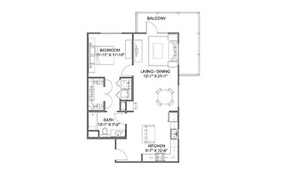 The Boulevard B - 1 bedroom floorplan layout with 1 bath and 838 square feet