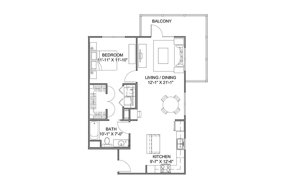 The Boulevard B - 1 bedroom floorplan layout with 1 bath and 838 square feet (1st floor 2D)