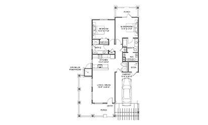 The Carriage House - 2 bedroom floorplan layout with 2 bath and 1114 square feet