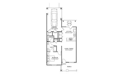 The Courtyard - 1 bedroom floorplan layout with 1 bath and 859 square feet