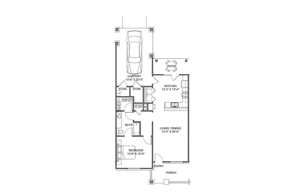 The Courtyard - 1 bedroom floorplan layout with 1 bath and 859 square feet (1st floor 2D)