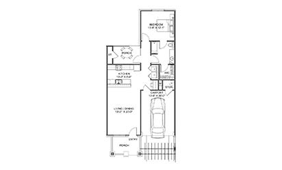 The Garden - 1 bedroom floorplan layout with 1 bath and 855 square feet