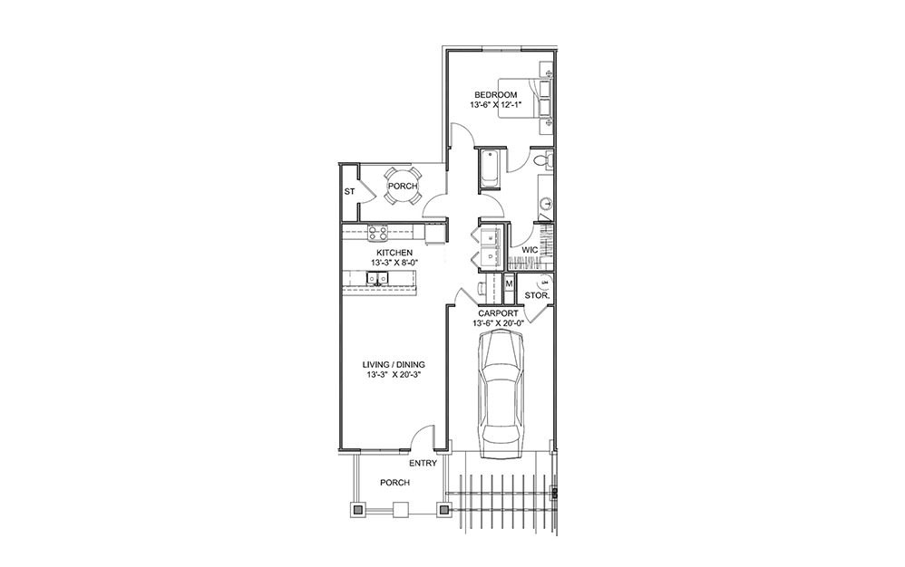 The Garden - 1 bedroom floorplan layout with 1 bath and 855 square feet (1st floor 2D)