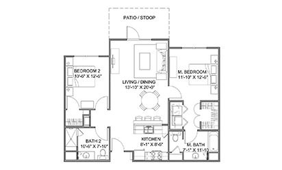 The Promenade A - 2 bedroom floorplan layout with 2 bath and 1026 square feet