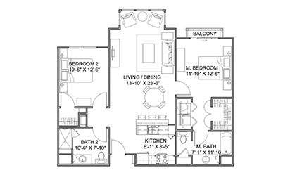 The Promenade B - 2 bedroom floorplan layout with 2 bath and 1060 square feet