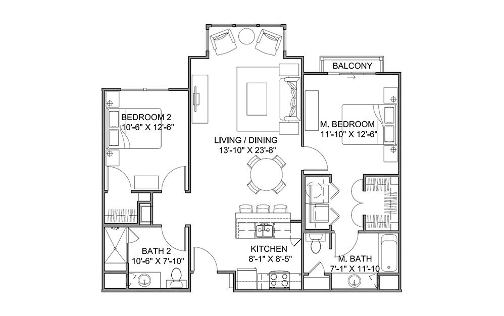 The Promenade B - 2 bedroom floorplan layout with 2 bath and 1060 square feet (1st floor 2D)