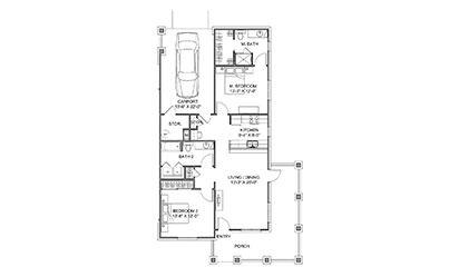 The Veranda - 2 bedroom floorplan layout with 2 bath and 1101 square feet