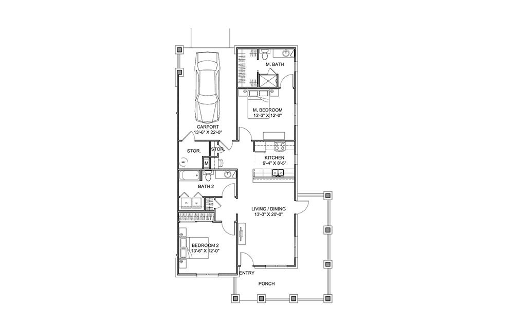 The Veranda - 2 bedroom floorplan layout with 2 bath and 1101 square feet (1st floor 2D)